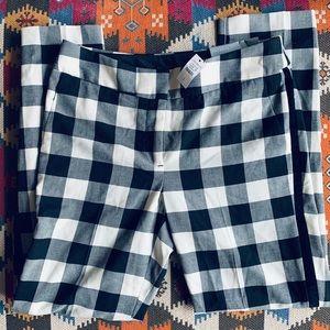 NWT Black White Gingham Check Pants & Velvet Trim